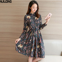 Film Printed Waist Lapel Lace Long Sleeve Dress Store A Lot Of Designs