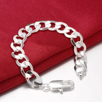 Curb Bracelet 18k White Gold Filled Solid Bracelet For Men 9 Long