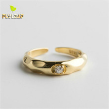 Flyleaf 925 Sterling Silver Rings For Women Cubic Zirconia Concave Conve Fashion Fine Jewelry Simple Open Ring Gold High Quality