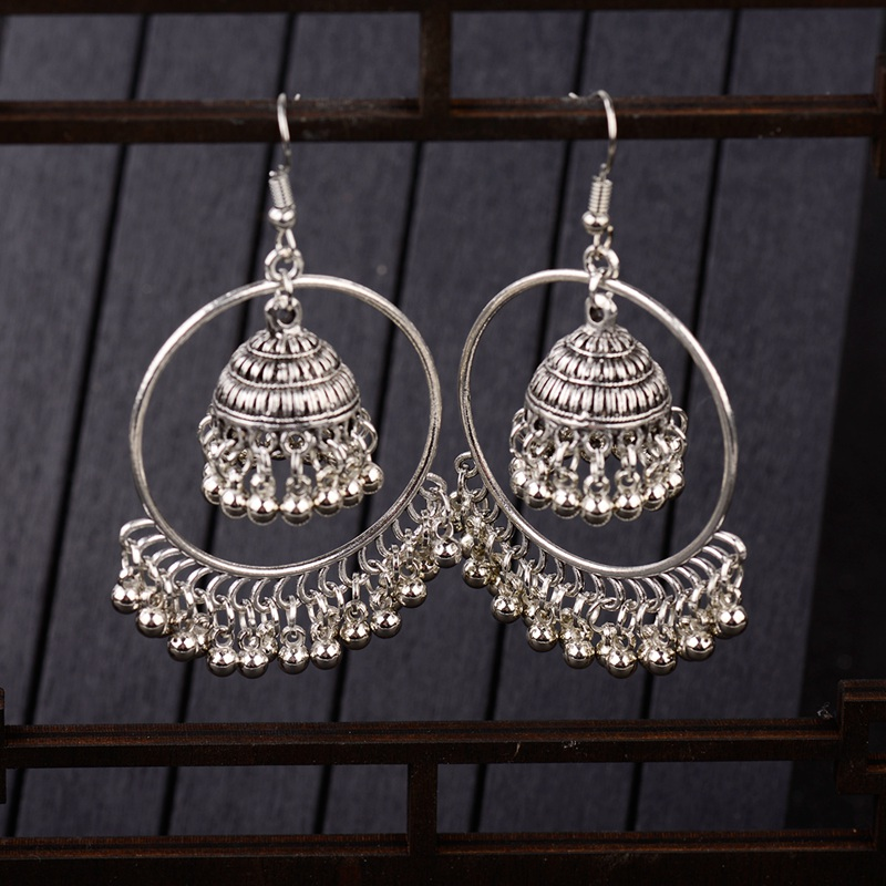 TopHanqi Indian Jhumka Jewelry Sliver Small Bells Drop Tassel Earrings Women Girls Boho Ethnic Big Round Circle Dangling Earring