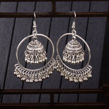 TopHanqi Indian Jhumka Jewelry Sliver Small Bells Drop Tassel Earrings Women Girls Boho Ethnic Big Round Circle Dangling Earring(China)