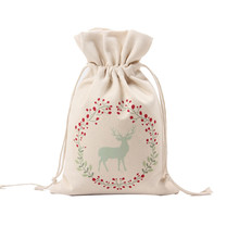 Christmas Canvas Small Gift Bag Printing Reindeer Drawstring Beam Port Storage Bag Festivals Children Candy Bag adornos navidad