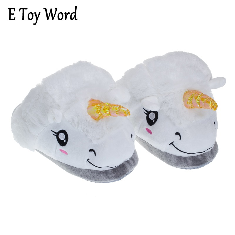 E TOY WORD HOT 2018 New Winter Warm Slippers Women Casual Home Indoor Cute Cartoon Plush Unicorn Shoes For Grown Ups Pantufas