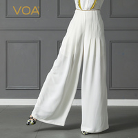 VOA однотонные белые тяжелый шелк широкие брюки ноги плюс Размеры 5XL свободные брюки Для женщин Длинные брюк офис Повседневное косые карман