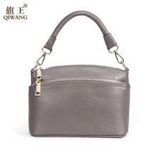 QIWANG 2017 Brand Fashion Woman Bag Small Shoulder Bag 100% Genuine Leather Small Shell Handbag with Adjust Shoulder Strap