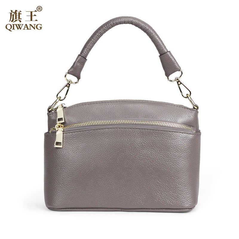 a15bf26bd67a QIWANG 2018 брендовая модная женская сумка маленькая сумка через плечо 100%  натуральная кожа небольшая сумочка