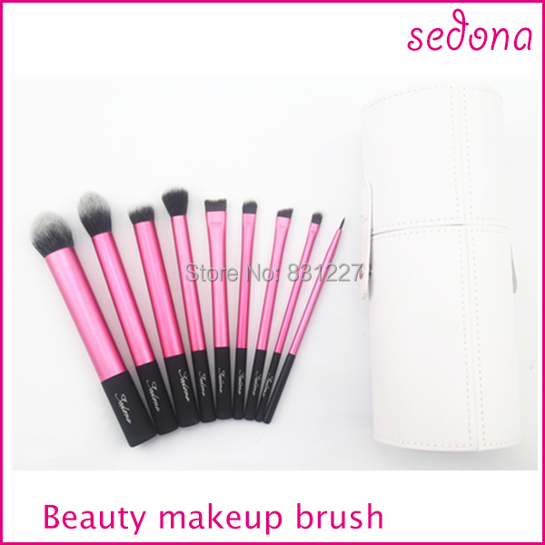 Sedona 9pcs travel makeup brush sets,with white cylinder brush case,three color can select