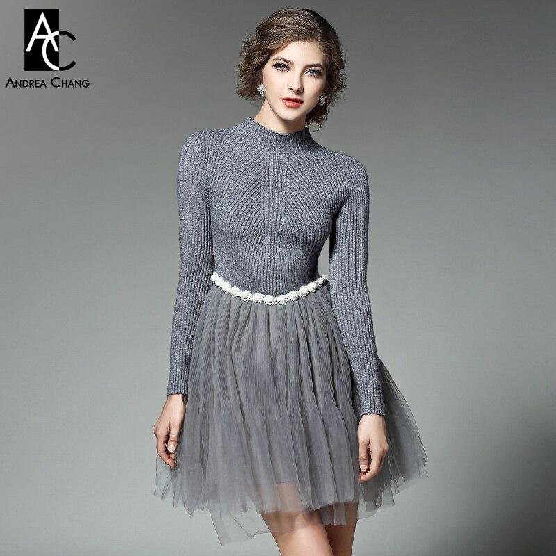осень весна дизайнер взлетно-посадочной полосы женщины платья розовый серый вязаный топ с бисером талия марля нижнее платье бальное платье милый платье