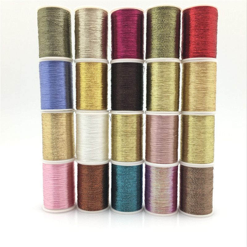 20 Piece Per Roll 20 Yards Metallic Glitter Polyester Embroidery Thread Sewing Thread Set - All Colours Crochet Thread   7YJ72