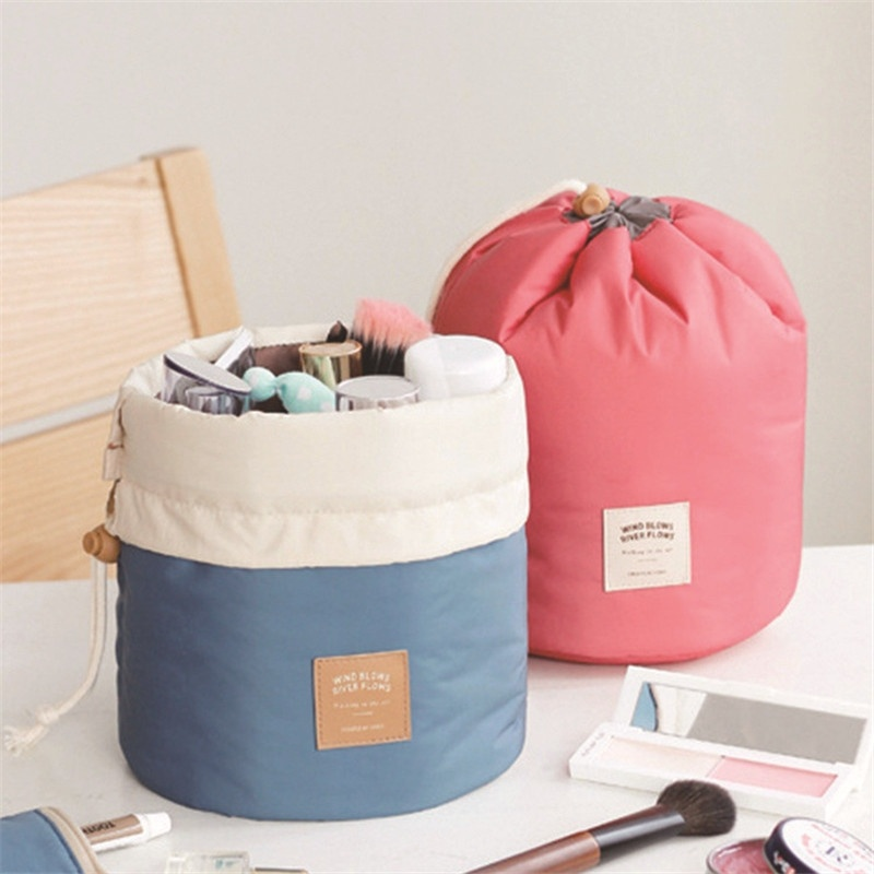 NIBESSER High Quality Waterproof Barrel Travel Cosmetic Bag Cosmetic Bag Nylon Wash Bag Portable Beauty Pouch Toiletry Kit