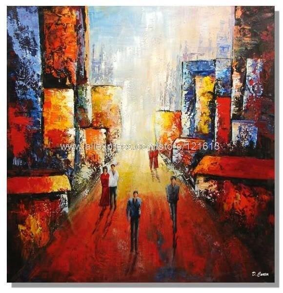 City Happy Peinture Contemporaine Tableau Moderne Contemporain Oil