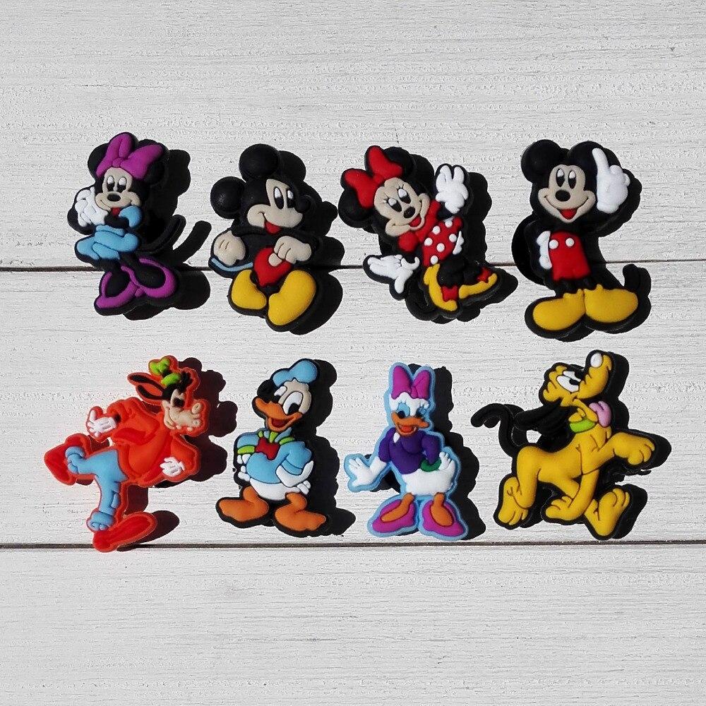 Cute 8PCS Mickey PVC Shoe Charms Fit Bracelets Croc Clogs,Shoe Accessories Decoractions For Kids Party Gifts