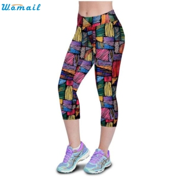 Womail Jogging Yoga Running Pants Gifts Woman Sports High Waist Fitness Yoga Sport Pants Printed Stretch Cropped Leggings 1PC