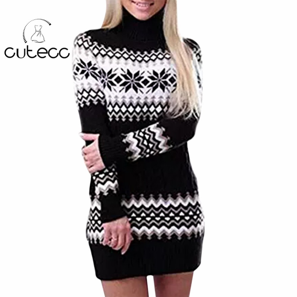 High neck sweaters pull femme autumn winter warm thick Vintage women knitted sweaters dress Geometric bodycon pencil vestidos