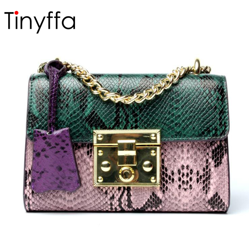 Tinyffa Serpentine Pattern Cow Genuine Leather Bag Female Shoulder Bag Women Handbag Crossbody Bag For Women Messenger Bag Small