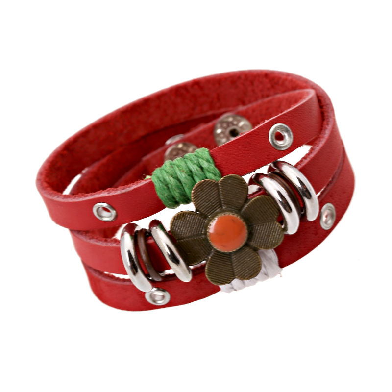 Womens Brown Red Hematite Flower Leather Bracelet