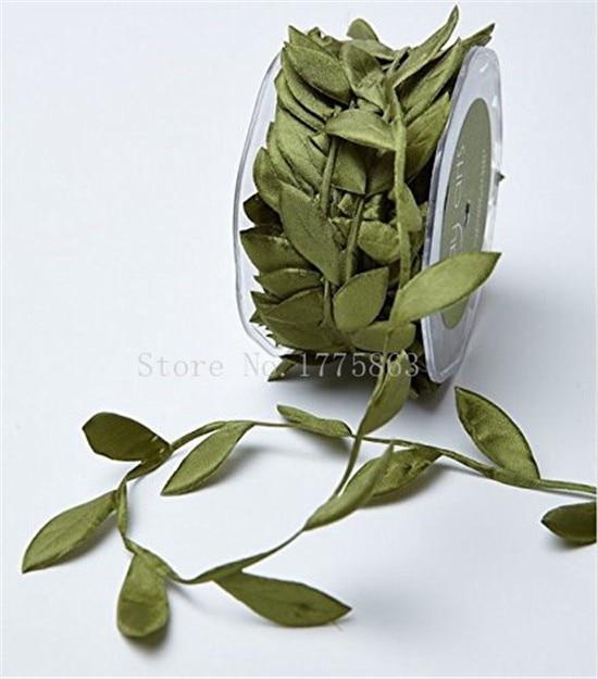 10 м оливково-зеленый лист отделкой атласная лента для рукоделия украшения (NB это из рулон) AA7714