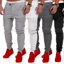 HOT 2018 Outdoor mens sport runway muscle hip hop stretch pants fitness Stitching design stripe thin leg man jogging sweatpants