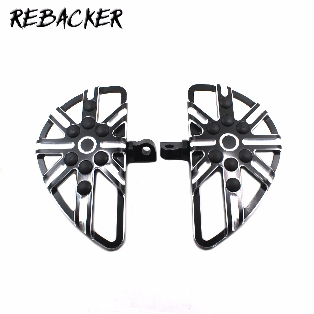 Foundry Pedal Black And Cast Chrome CNC Floorboards Pedal Fit For Harley Sportster 883 1200 Touring Dyna Softail