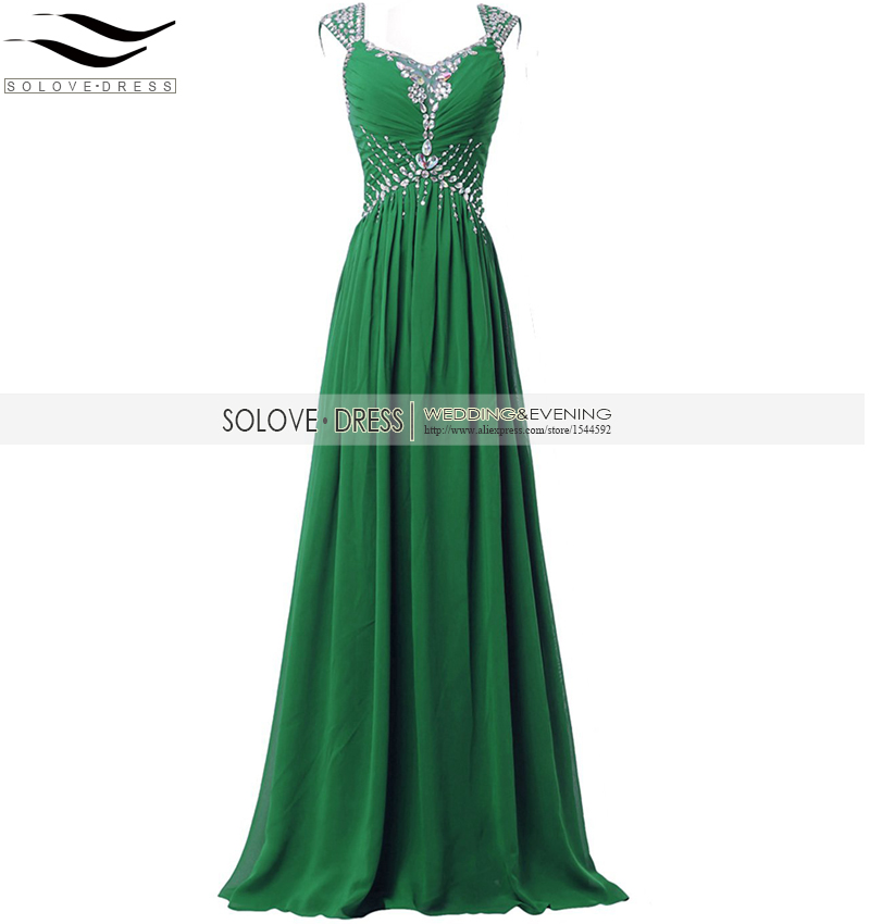 Solovedress Sexy V Neck Real Photos Crystal Green Long   Prom     Dress   2016 Cap Sleeves Evening Gown Vestidos De fiesta SLE-SLP07