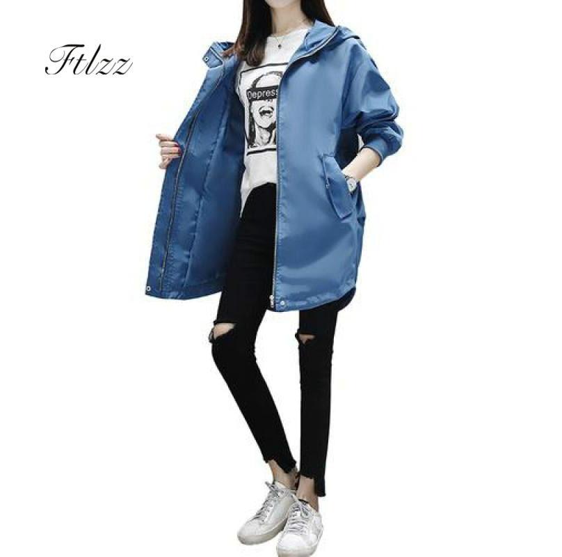 Spring Autumn Hooded   Trench   Coats Women Casual Harajuku Medium Long Windbreaker Plus Size Female Overcoat Casaco Feminino