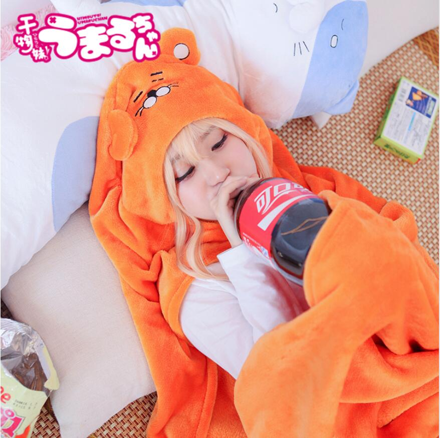 High Quality Himouto! Flannel Cloak Cosplay Umaru chan Anime Figures coral Blanket For Children Adult