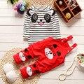 Nuevos Bebés del Otoño Y el Invierno Ropa de Bebé Conjunto de Dibujos Animados Oso Impresa Camisa de Rayas + Pantalones de Algodón Ropa de bebé Recién Nacido traje