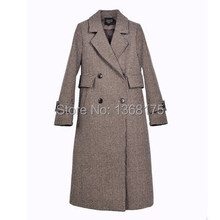 Vintage Brown Plaid Trench Coat Autumn Winter 2017 Women Coats Long Peacoats(China)