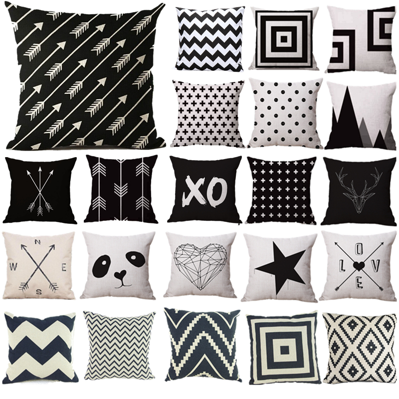 Pillow Case Black And White Pattern Pillowcase Cotton Linen Printed 18x18 Inches Geometry Euro Pillow Covers 35