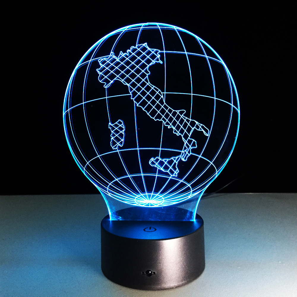 Italy Earth Globe Map Light 3D Visual LED Lamp USB Bedroom Small Desk Lamp 7 Colors Changing Led Night Lights Decor 3D-229