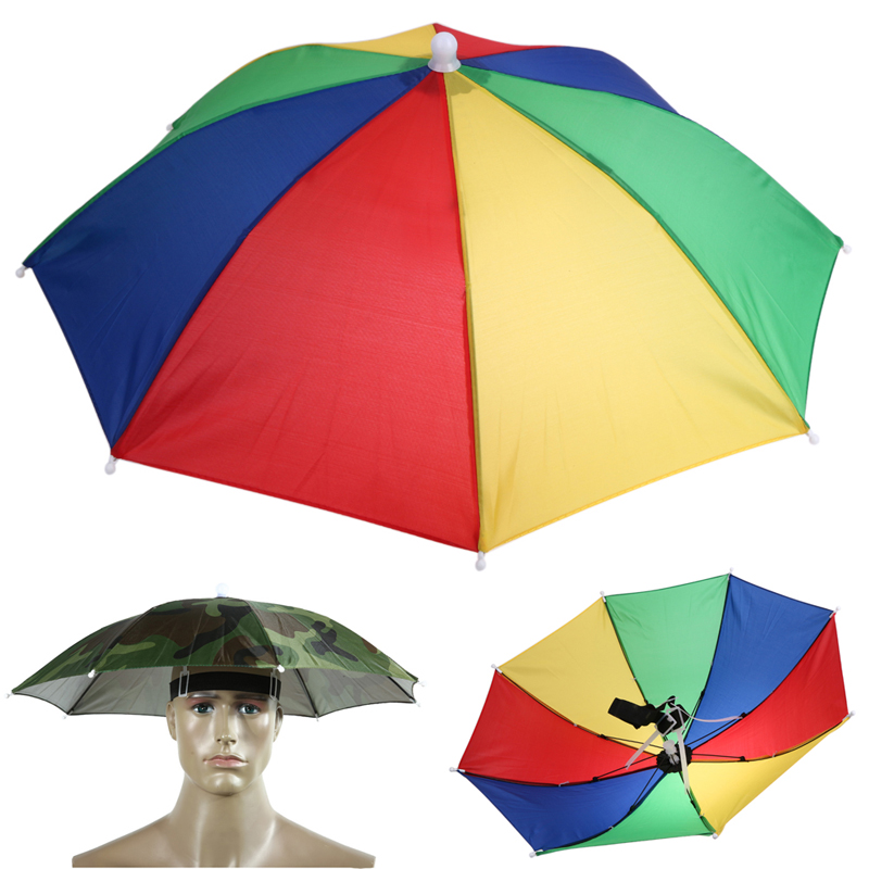 Portable 69cm Umbrella Hat Cap Folding Fishing Hiking Handsfree Umbrella D239