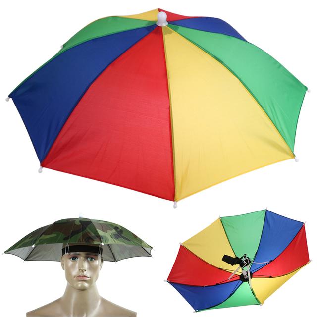 Foldable Umbrella Hat Cap for Fishing Hiking Beach Camping  Handsfree Hats Head Umbrella Outdoor Sports Rain Gear 55cm