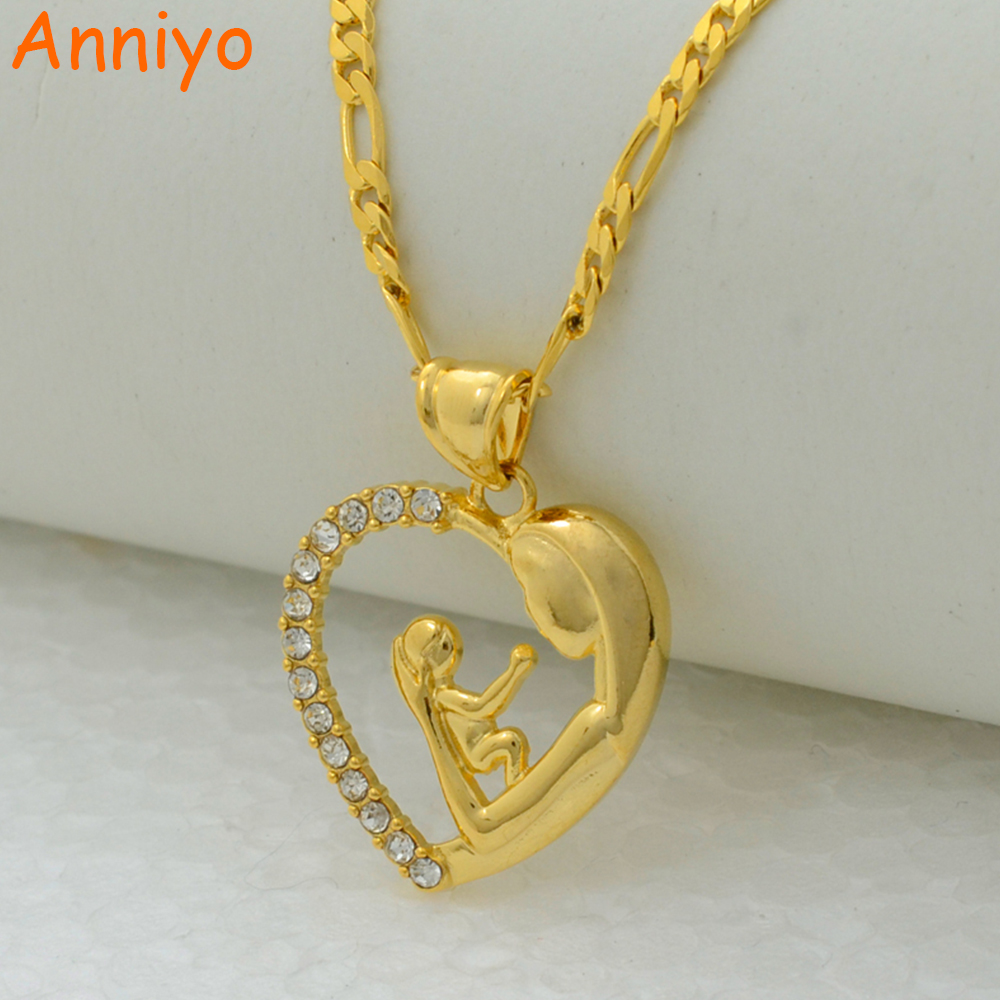 Anniyo I love my mother pendant necklace chain gold color