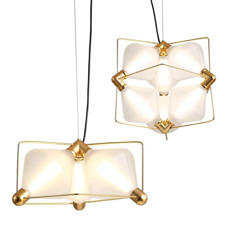Moderne pendentif LED lumière diamant pendentif lampe en verre dépoli Suspension lampe salle d'étude Simple hôtel Hall éclairage à la maison G763