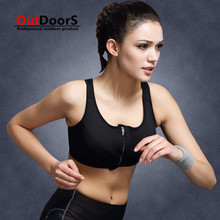 Shipping Free Adjustable high-intensity professional sports bra without rims shock zipper vest female running fitness yoga bra