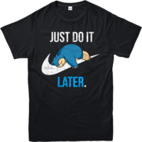 Pokemon T Shirt Reality Game Snorlax Just Do It Later Adult And Kids Sizes Summer Short