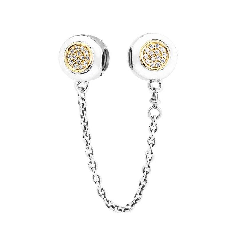 Passt Für Pandora Armbänder Unterschrift Sicherheit Kette Charms mit 14 K Reales Gold 100% 925 Sterling Silber Schmuck perlen Freies Verschiffen-in Perlen aus Schmuck und Accessoires bei  Gruppe 2