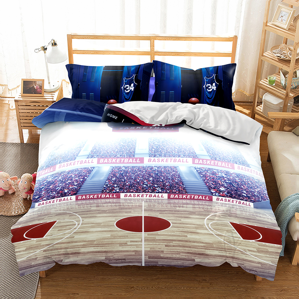 Basketball Sport Children Boys Bedding Duvet Cover Set 100/% Cotton Single Double