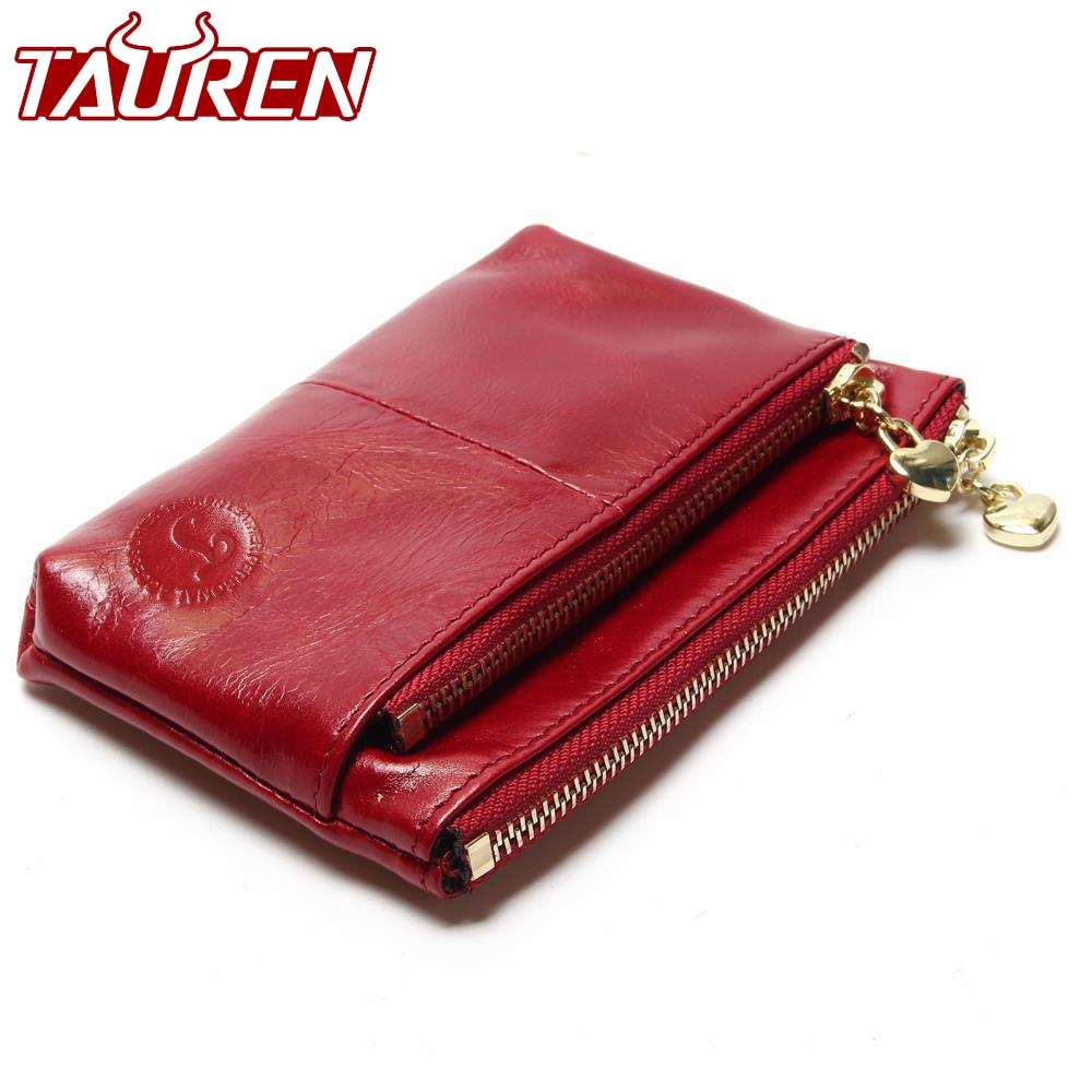 New TAUREN High Quality Genuine Leather Women Mini Wallet Oil Wax Leather Coin Purse Coin Credit Card Holder With Metal Ring mens wallet genuine leather vintage small wallets brand design high quality unisex oil wax cowhide coin purse credit card holder