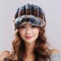 Натуральный мех женские зимние рекс кролика волосы утолщение версия Естественной Полосой Рекс Кролика высокие навесы меховая шапка для женщины # H9013