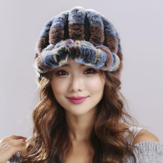 Las mujeres reales de piel de pelo de conejo rex invierno versión engrosamiento Franja Natural de piel de Conejo Rex alta marquesinas sombrero de piel para las mujeres # H9013