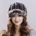 Real fur women's winter rex rabbit hair thickening version Natural Stripe Rex Rabbit Fur high canopies fur hat for women#H9013