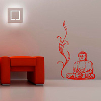 Buddha Wall Stickers Yoga Pose Meditation Relax Floral Wall Decals DIY Removable Home Decor Vinyl Sticker