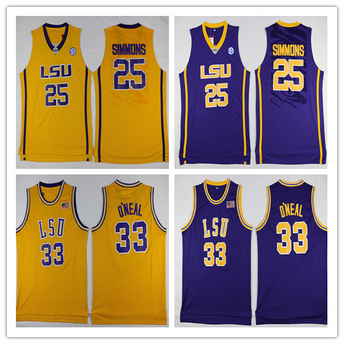 bafc3b9fe1c ... lsu tigers college jerseys 25 ben simmons jersey 33 shaquille oneal shirt  throwback
