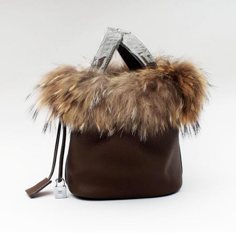 2017 Autumn Winter Women Bucket Bag Genuine Leather Fur Famous Brand Ladies Handbags Lock Shopping Bags Small Mini Tote autumn and winter new ladies genuine