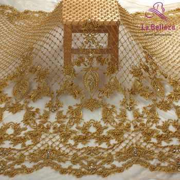 La Belleza 2018 fashion design heavy handmade beading lace fabric 1 yard