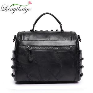 Image 2 - Fashion Women Messenger Bags Black Rivet Genuine Leather Shoulder Bag Sac a Main Crossbody Bags For Women Designer Handbags