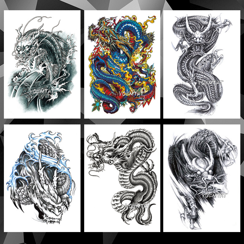 Waterproof Temporary Tattoo Sticker Black Color Dragon Pattern Tattoo Water Transfer Skull Body Art Fake Tattoo For Women Men