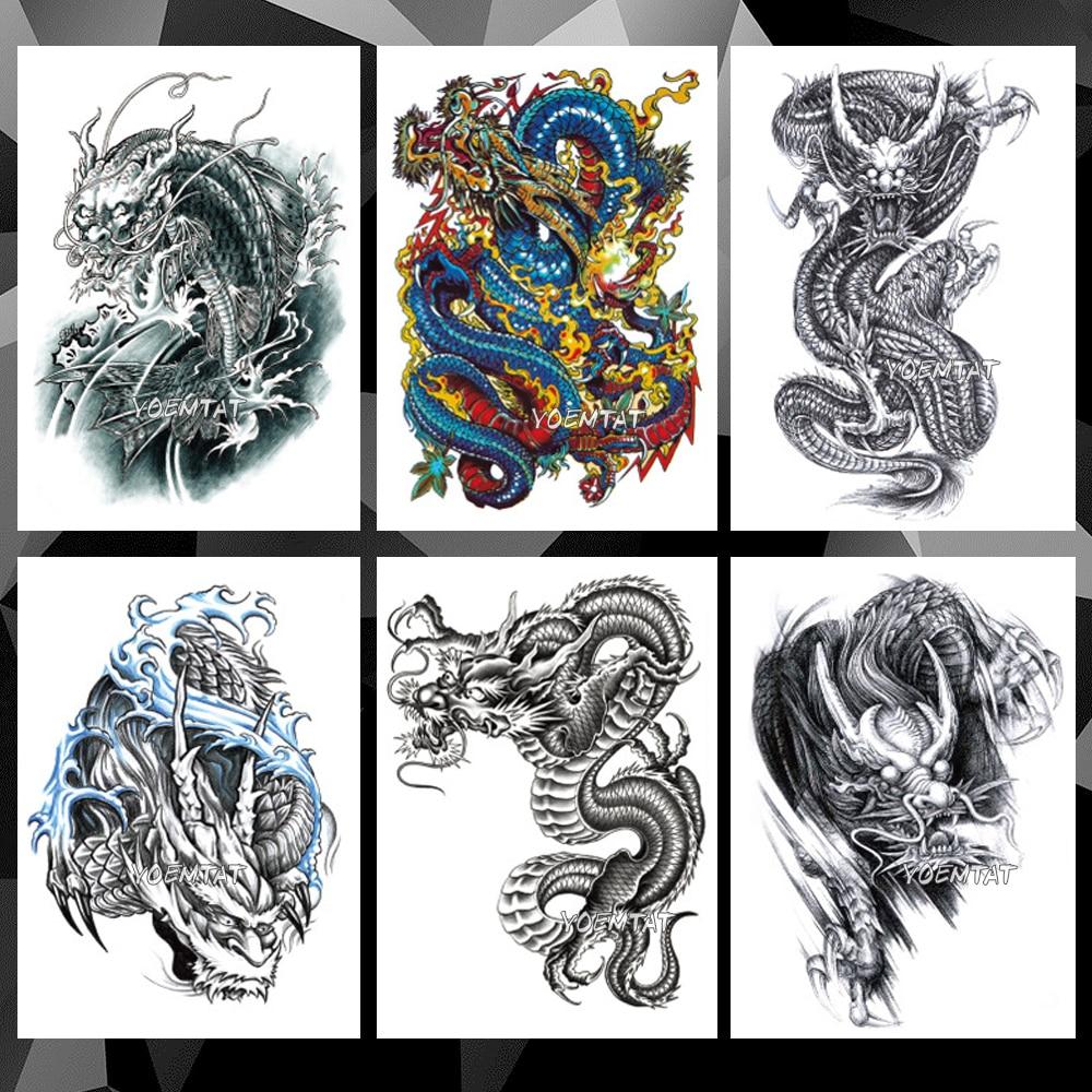 Waterproof Temporary Tattoo Sticker Black Color Dragon Pattern Tattoo Water Transfer Skull Body Art Fake Tattoo For Women Men