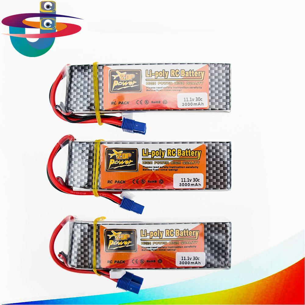 Zop Power Lipo Battery 11.1v 3000mah 3S 30C EC3 XT60 T Plug Polymer Lithium for Blade 350 QX450 RC Helicoper Drone zop power lithium polymer lipo battery 11 1v 1500mah 3s 40c xt60 for rc helicopter car truck hobby drone bateria